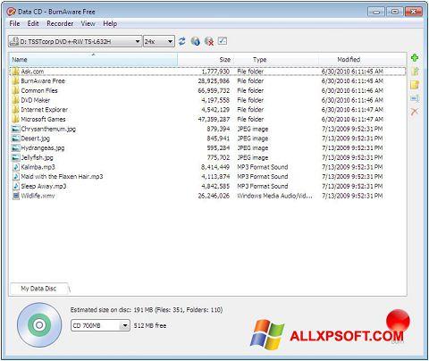 Screenshot BurnAware Free untuk Windows XP