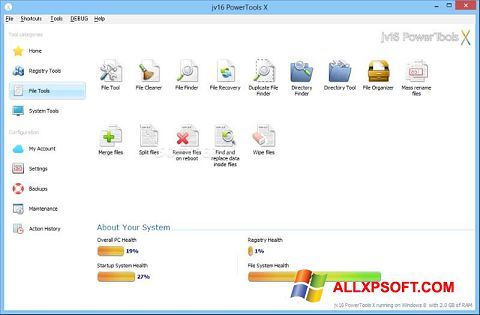 Screenshot jv16 PowerTools untuk Windows XP