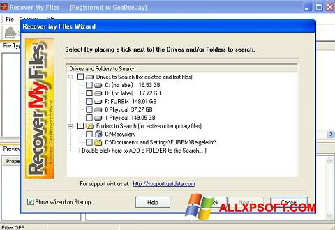 Screenshot Recover My Files untuk Windows XP