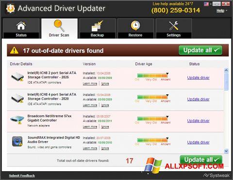 Screenshot Advanced Driver Updater untuk Windows XP