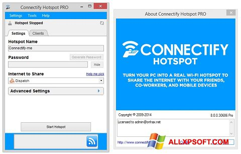 Screenshot Connectify Hotspot untuk Windows XP