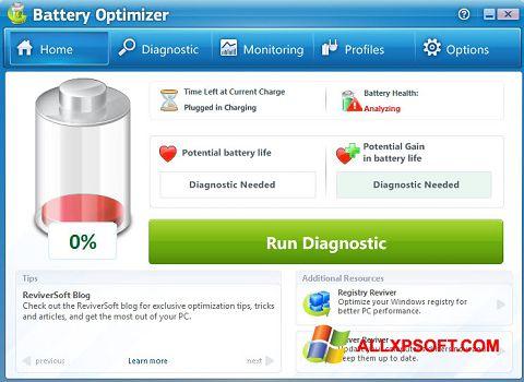 Screenshot Battery Optimizer untuk Windows XP