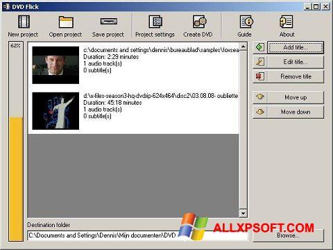 Screenshot DVD Flick untuk Windows XP