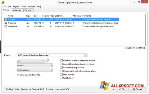 Screenshot PeaZip untuk Windows XP
