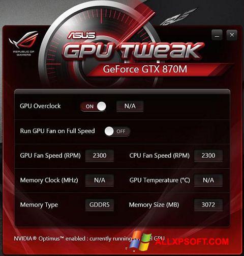 Screenshot ASUS GPU Tweak untuk Windows XP