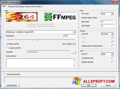 Screenshot x264 Video Codec untuk Windows XP
