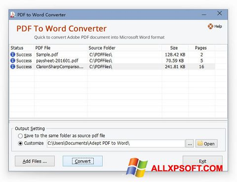 Screenshot PDF to Word Converter untuk Windows XP