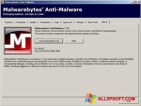 Screenshot Malwarebytes Anti-Malware Free untuk Windows XP