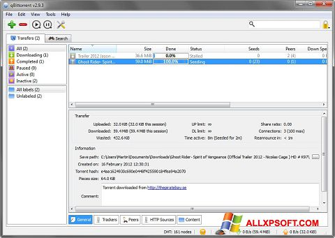 Screenshot qBittorrent untuk Windows XP