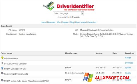 Screenshot Driver Identifier untuk Windows XP