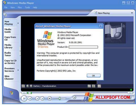 Screenshot Windows Media Player untuk Windows XP