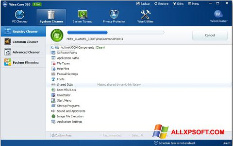 Screenshot Wise Care 365 untuk Windows XP
