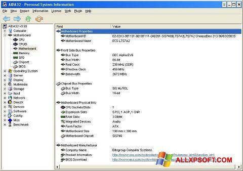 Screenshot AIDA32 untuk Windows XP