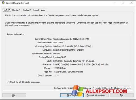 Screenshot DirectX untuk Windows XP