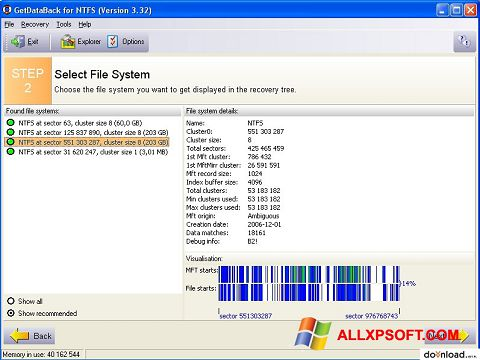 Screenshot GetDataBack untuk Windows XP