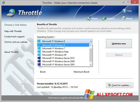 Screenshot Throttle untuk Windows XP