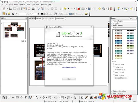 Screenshot LibreOffice untuk Windows XP