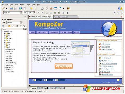 Screenshot KompoZer untuk Windows XP