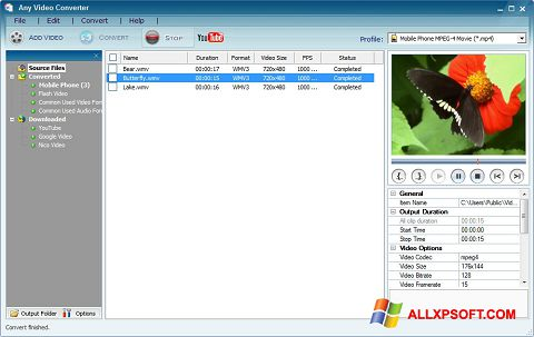 Screenshot Any Video Converter untuk Windows XP