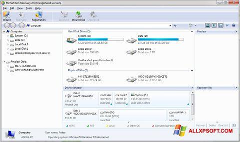 Screenshot RS Partition Recovery untuk Windows XP