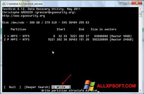 Screenshot TestDisk untuk Windows XP