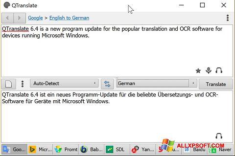 Screenshot QTranslate untuk Windows XP
