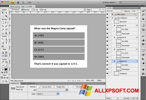 Screenshot Adobe Fireworks untuk Windows XP