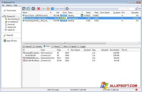 Screenshot BitTorrent untuk Windows XP