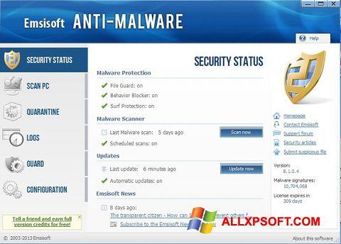 Screenshot Emsisoft Anti-Malware untuk Windows XP