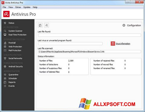 Screenshot Avira Antivirus Pro untuk Windows XP