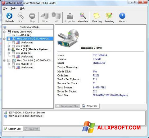 Screenshot Active KillDisk untuk Windows XP