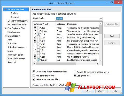 Screenshot Ace Utilities untuk Windows XP