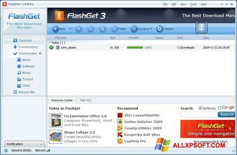Screenshot FlashGet untuk Windows XP