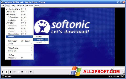 Screenshot Media Player Classic untuk Windows XP