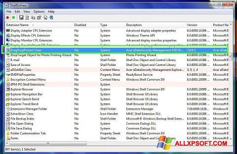 Screenshot ShellExView untuk Windows XP