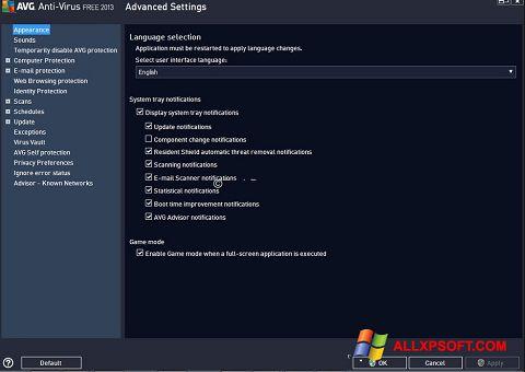 Screenshot AVG untuk Windows XP