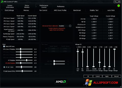 Screenshot AMD Overdrive untuk Windows XP