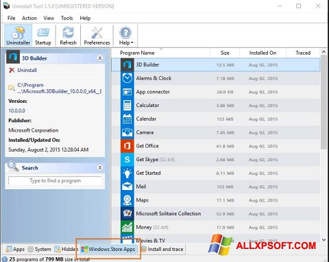 Screenshot Uninstall Tool untuk Windows XP