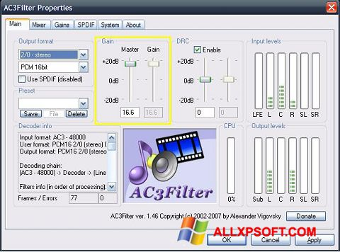 Screenshot AC3Filter untuk Windows XP