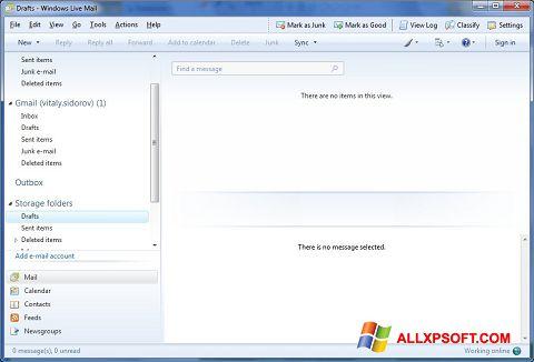 Screenshot Windows Live Mail untuk Windows XP