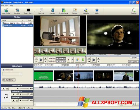 Screenshot VideoPad Video Editor untuk Windows XP