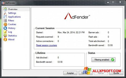 Screenshot AdFender untuk Windows XP