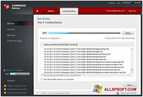 Screenshot Comodo BackUp untuk Windows XP