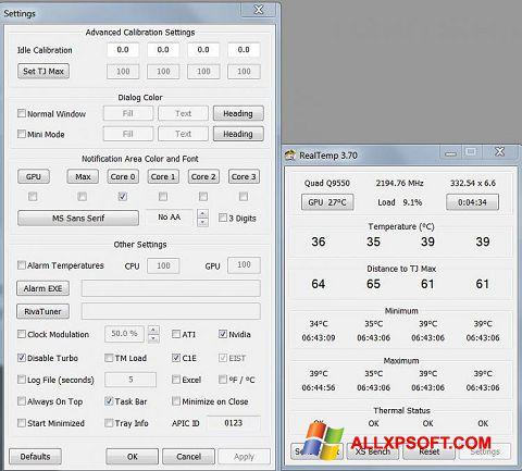 Screenshot Real Temp untuk Windows XP