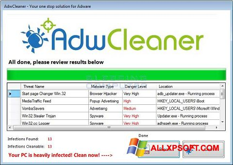 Screenshot AdwCleaner untuk Windows XP