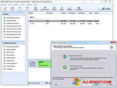 Screenshot AOMEI Partition Assistant untuk Windows XP