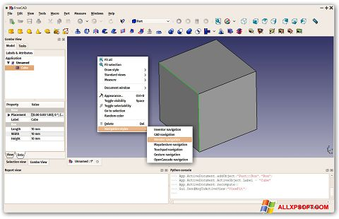 Screenshot FreeCAD untuk Windows XP