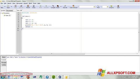 Screenshot Geany untuk Windows XP
