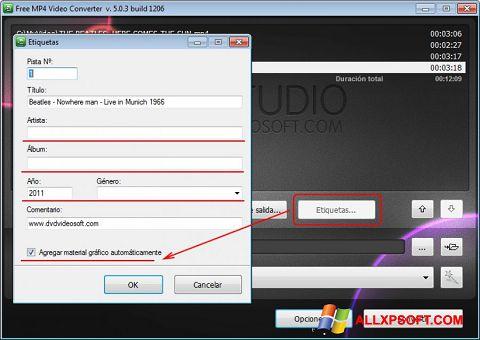 Screenshot Free MP4 Video Converter untuk Windows XP
