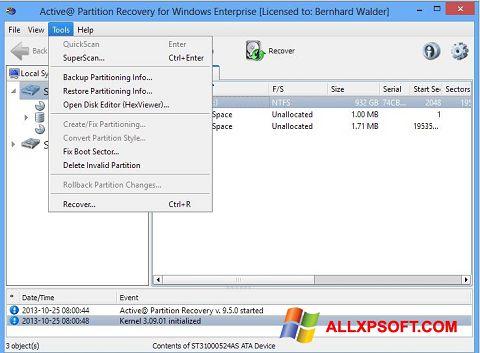 Screenshot Active Partition Recovery untuk Windows XP